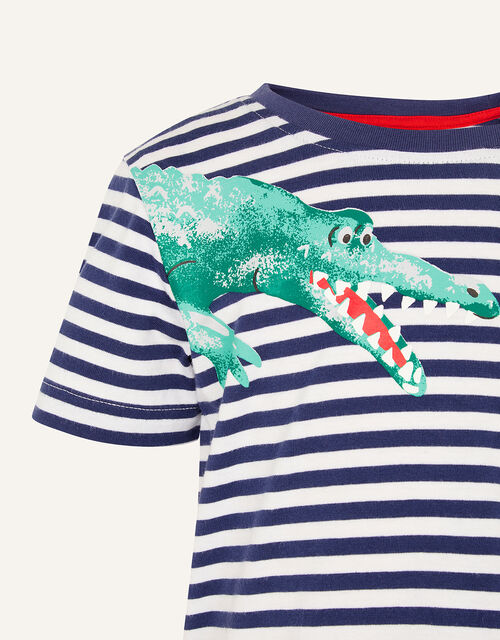 Croc Stripe T-Shirt , Blue (NAVY), large