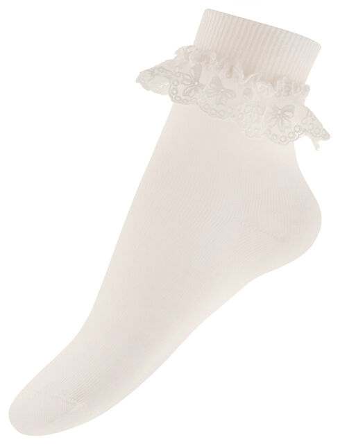 Olivia Bow Lace Sock, Ivory (IVORY), large