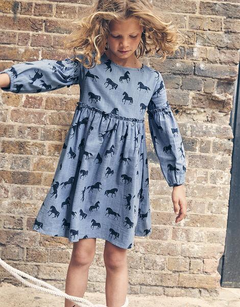 Horse Print Swing Dress Blue, Blue (BLUE), large