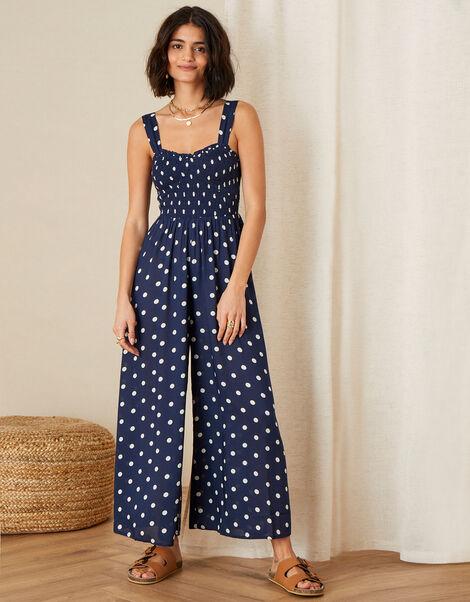 Hector Polka Dot Jumpsuit Blue, Blue (NAVY), large