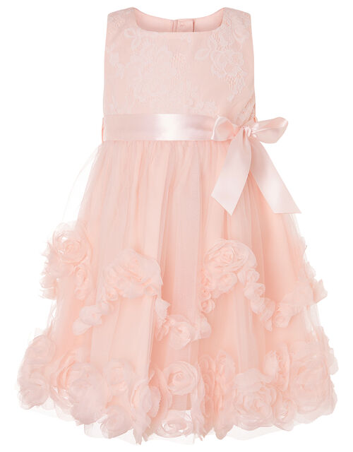Baby Naya Rosette Lace Dress, Pink (PALE PINK), large