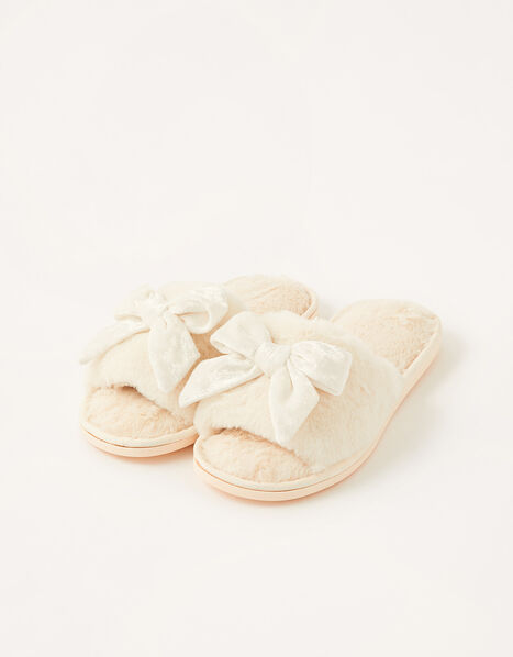 Velvet Bow Faux Fur Slippers Ivory, Ivory (IVORY), large