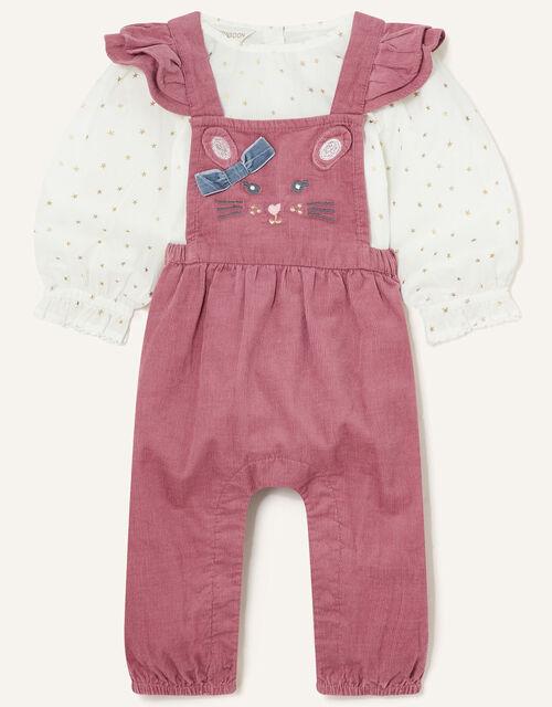 Newborn Mouse Dungaree Set, Pink (PINK), large