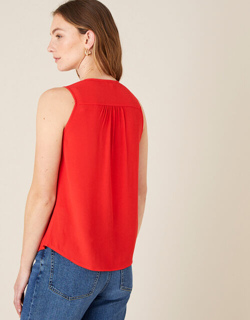 Button Front V-Neck Tank Top, Red (RED), large