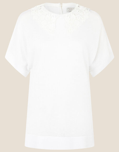 Short Sleeve Collar Jumper in Linen Blend, Ivory (IVORY), large