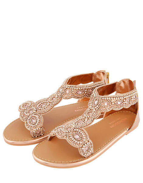 Embellished Metallic Sandals Gold, Gold (ROSE GOLD), large