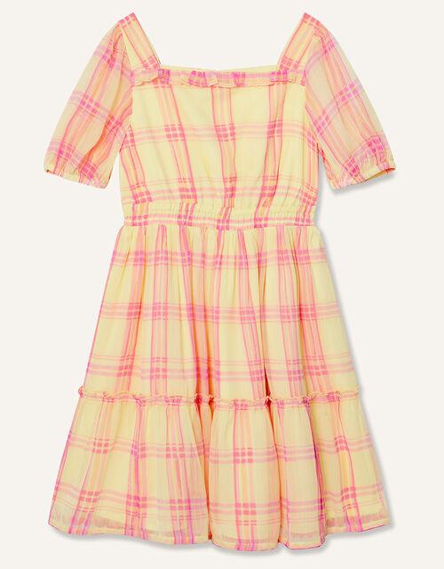 Check Puff Sleeve Dress, Yellow (YELLOW), large