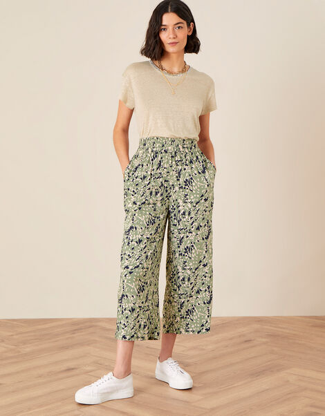 Printed Culottes in LENZING™ ECOVERO™ Green, Green (KHAKI), large
