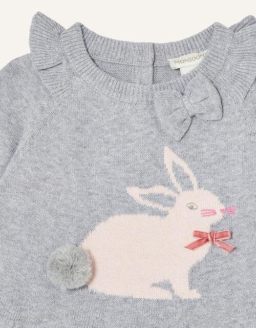 Newborn Bunny Knitted Dress, Grey (GREY), large
