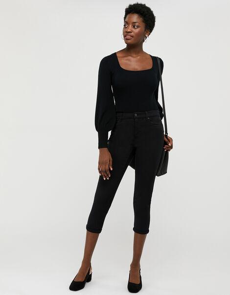 Idabella Capri Jeans with Organic Cotton Black, Black (BLACK), large