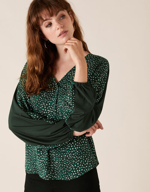 Ditsy Print Woven Front Jersey Top, Green (GREEN), large