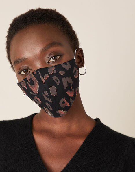 Animal Print Face Mask in Pure Cotton, , large