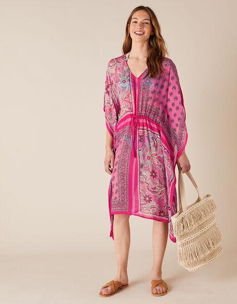 Mixed Print Kaftan in Sustainable Viscose Pink, Pink (PINK), large