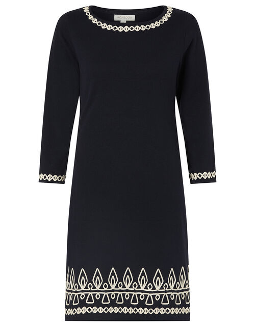 Cornelli Trim Knit Dress, Blue (NAVY), large