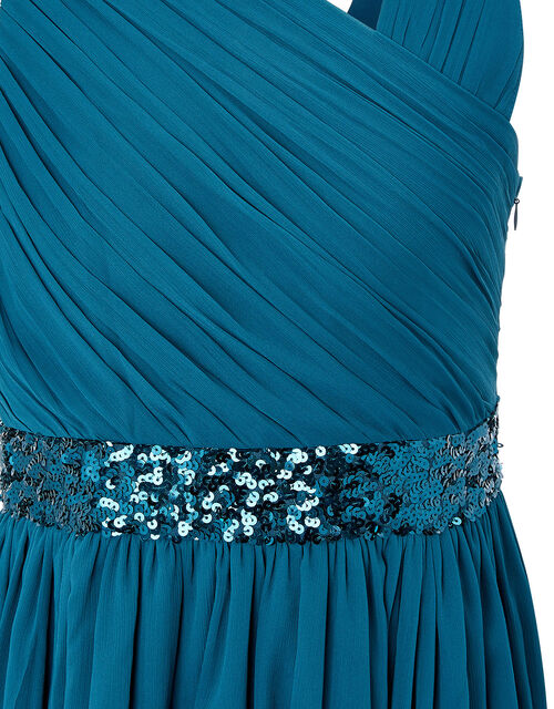 Abigail Sequin One-Shoulder Prom Dress, Teal (TEAL), large