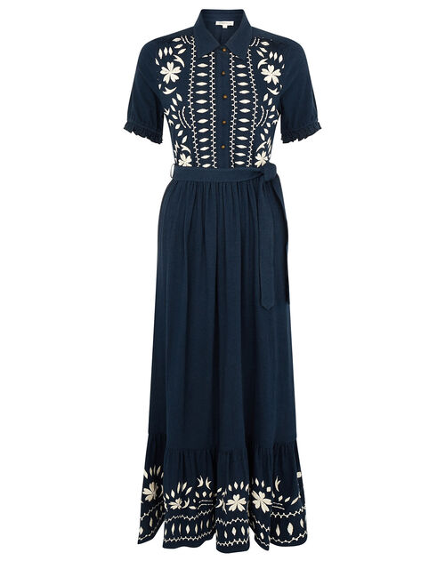 Heritage Embroidered Maxi Shirt Dress, Blue (NAVY), large