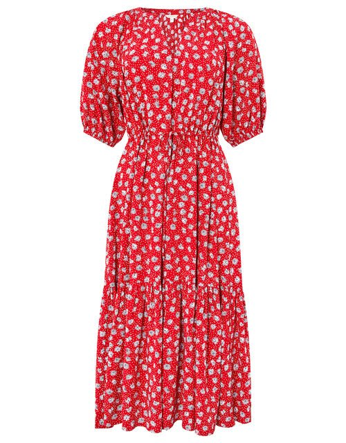Daisy Print Midi Dress in LENZING™ ECOVERO™, Red (RED), large
