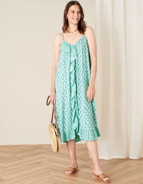 Printed Ruffle Midi Dress Green, Green (GREEN), large