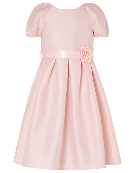 Corsage Belt Puff Sleeve Dress Pink, Pink (PINK), large