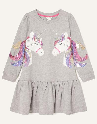 Sequin Unicorn Sweat Dress Grey, Grey (GREY), large