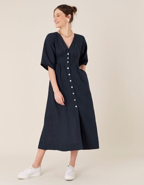 Button-Through Midi Dress in Pure Linen, Blue (NAVY), large