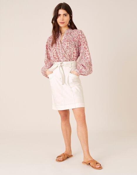 Belted Denim Skirt in Organic Cotton Natural, Natural (ECRU), large