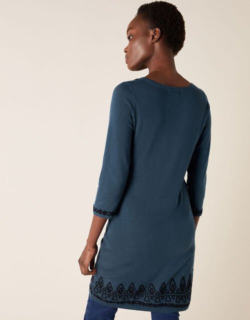 Cornelli Trim Knit Dress, Teal (TEAL), large