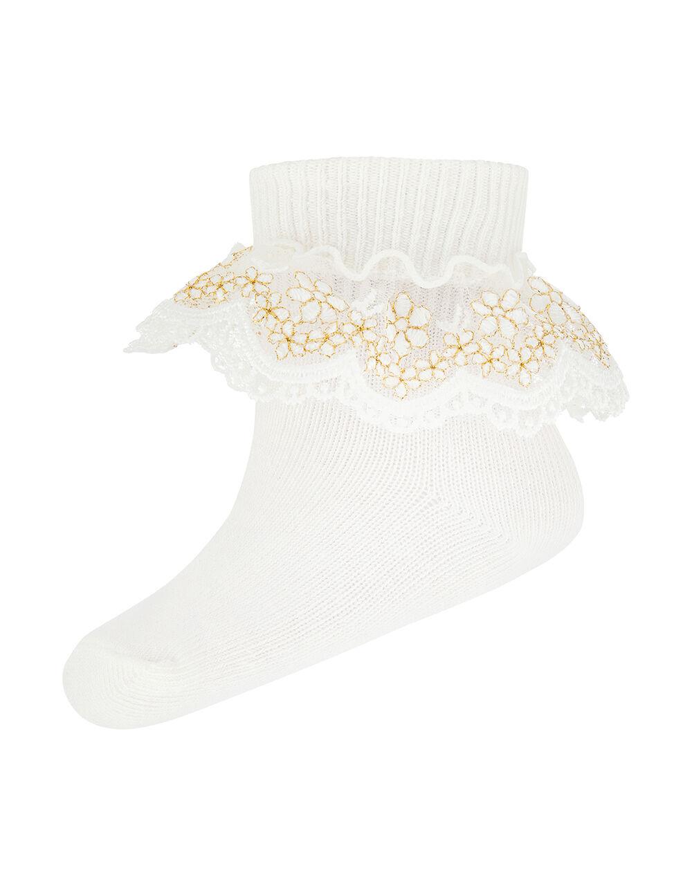 Baby Chloe Sparkle Gold Lace Sock, Ivory (IVORY), large