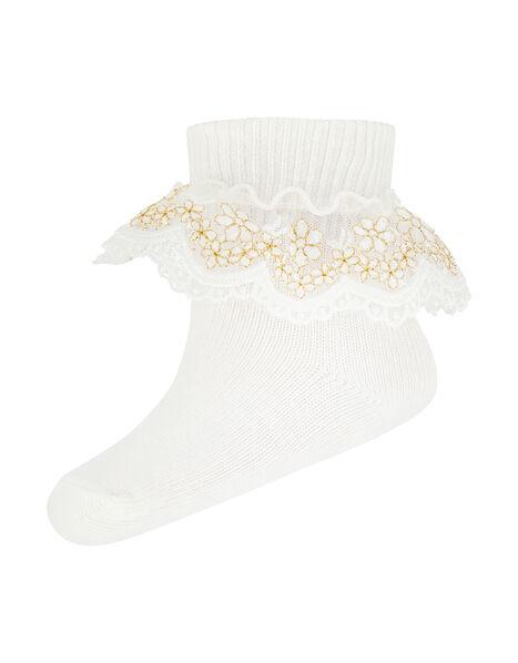Baby Chloe Sparkle Gold Lace Sock Ivory, Ivory (IVORY), large