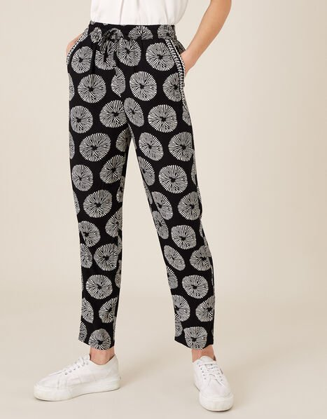 ARTISAN STUDIO Circle Print Trousers Black, Black (BLACK), large