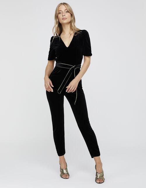 Kimberley Velvet Jumpsuit, Black, large