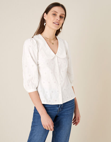Schiffli Collar Top Ivory, Ivory (IVORY), large