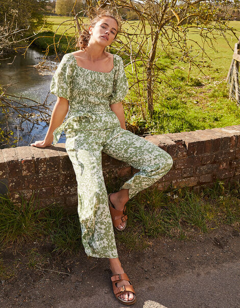 Julia Floral Shirred Jumpsuit Green, Green (GREEN), large