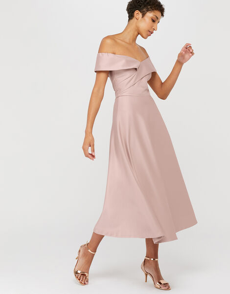 Sigourney Satin Midi Dress Pink, Pink (BLUSH), large