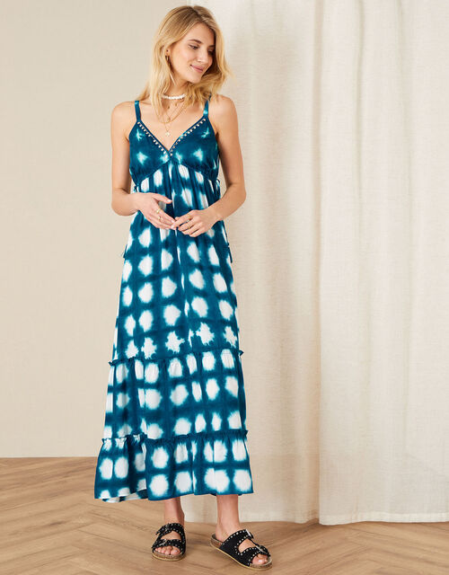 Tessie Tie-Dye Maxi Dress in LENZING™ ECOVERO™, Blue (BLUE), large
