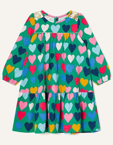 Sequin Shoulder Heart Print Dress Green, Green (GREEN), large