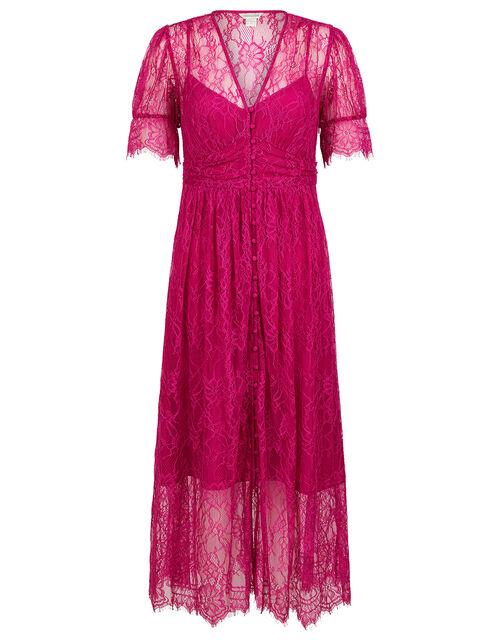 Miranda Eyelash Lace Tea Dress, Pink (PINK), large