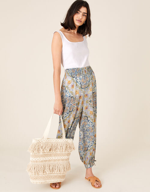 Mariam Printed Balloon Trousers, Blue (BLUE), large