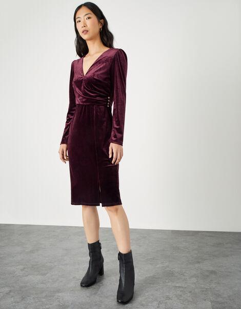 Shelly Plain Velvet Dress Red, Red (BURGUNDY), large