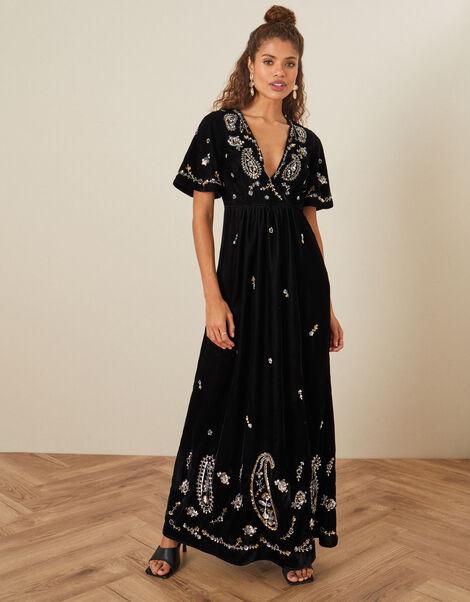 Jacqueline Velvet Embellished Maxi Dress Black, Black (BLACK), large