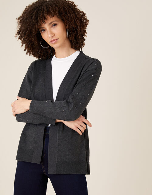 Heat-Seal Gem Cardigan, Grey (CHARCOAL), large