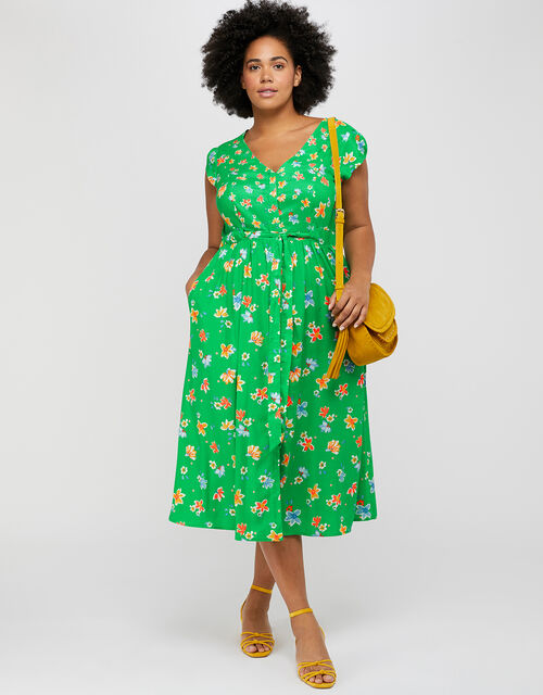 Mora Floral Midi Dress in LENZING™ ECOVERO™, Green, large