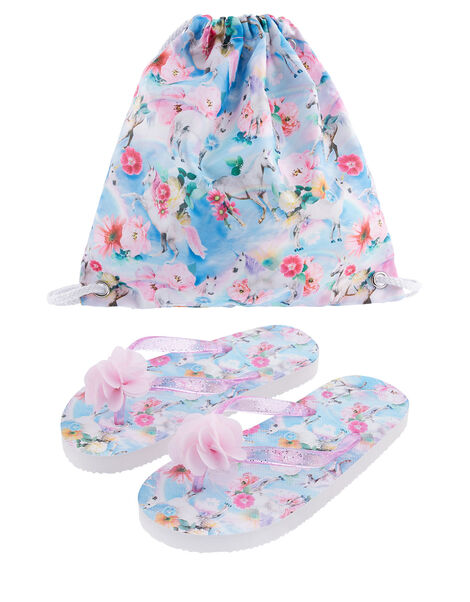 Unicorn Floral Flip Flop and Bag Set Blue, Blue (BLUE), large