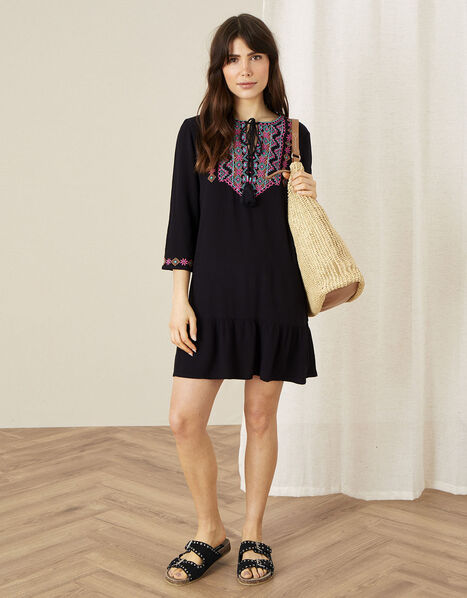 Embroidered Yoke Kaftan Dress Black, Black (BLACK), large