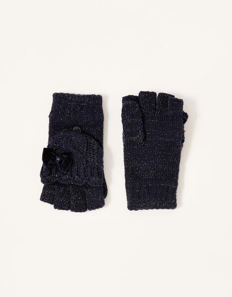 Nancy Sparkle Capped Gloves Blue, Blue (NAVY), large