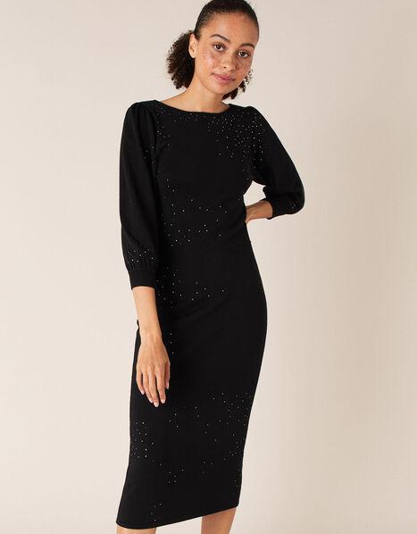Hotfix Gem Knit Dress with Sustainable Viscose Black, Black (BLACK), large