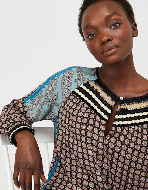 Leonie Patch Top in LENZING™ ECOVERO™, Black, large