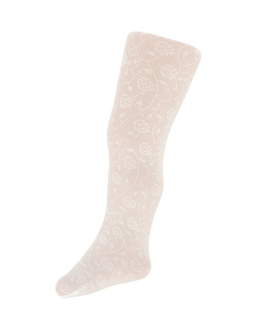 Baby Rose Trellis Tights, Ivory (IVORY), large