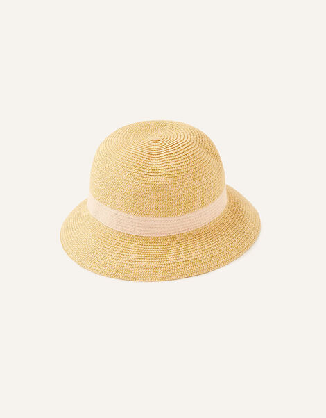Colourblock Straw Bucket Hat , , large