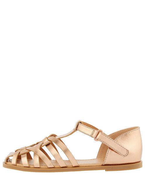 Rose Gold Caged Sandals, Gold (ROSE GOLD), large